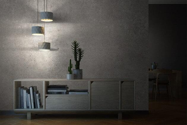 resimdo CO-AB-NS401 Bright Concrete Beton Betonfolie Hellgrau Steinoptik selbstklebend für Ideen im Esszimmer Küche und Flur Beleuchtung