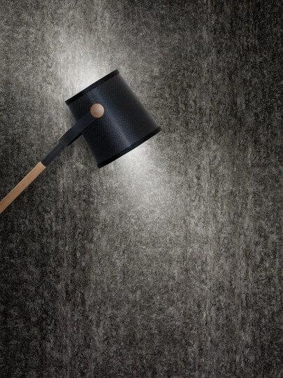 resimdo CO-AB-NS407 Grey Rustic Stone Wandfolie Grau für Trennwände, Büroräume und Wohnzimmer Gestaltung Beispiel Beleuchtung